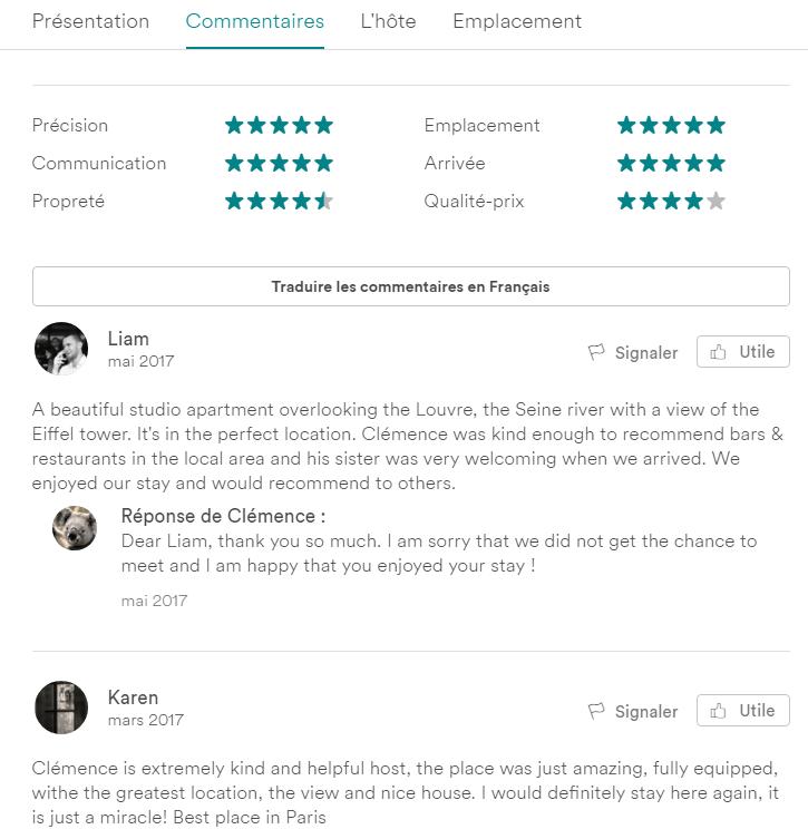 Chez Airbnb les commentaires ont un impact sur le classement des annonces.